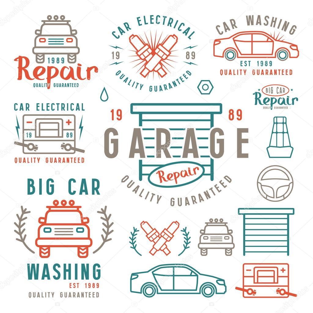 Sistema de auto reparación insignias y elementos de diseño — Vector ...