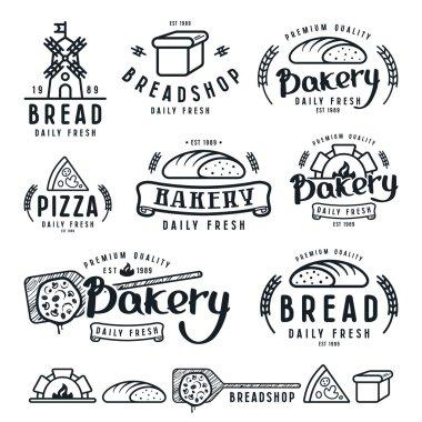 Set of bakery labels, badges, and design elements
