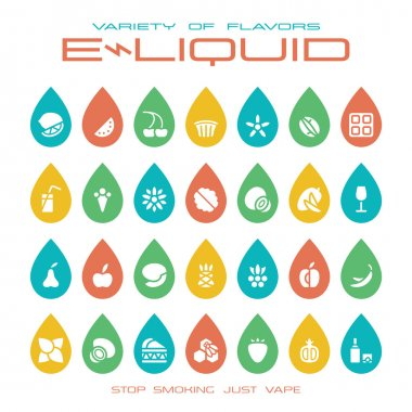 Vape shop e-liquid flavors icons set