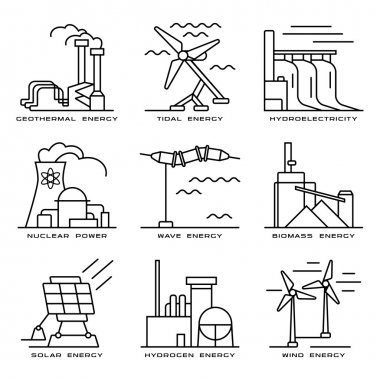 Vector set of web icons on electricity generation plants and sou