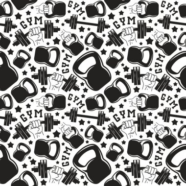 Seamless pattern gym club. Design for your textiles, backgrounds, wrapping paper. Black print on white background clip art vector
