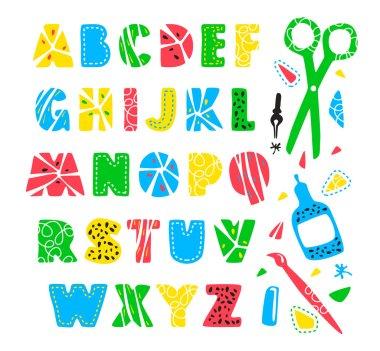 Hand drawn creative alphabet