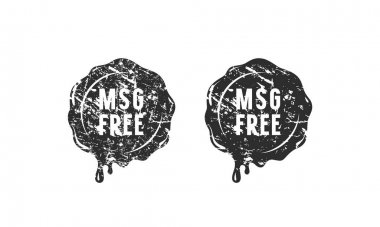 Wax seal msg free sign for your label and packaging. Design with vintage texture. Black print on white background icon