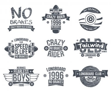 Longboard club emblems. Graphic design for t-shirt. Dark print on white background stock vector