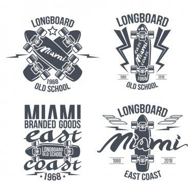 Longboard retro emblems. Graphic design for t-shirt. Dark print on white background stock vector