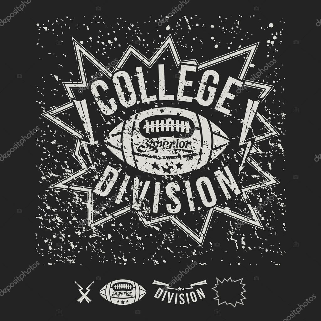c04f07b70 College team American football emblem and icons graphic design for t-shirt.  White drawing on a black background — Vector by ...
