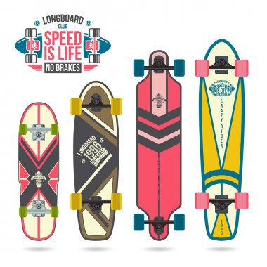 Set of prints on longboard in retro style. Geometric prints, variety form stock vector