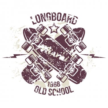 Longboard emblem print design for t-shirt in retro style stock vector