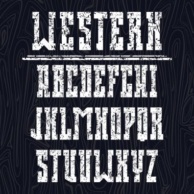 Bold serif font in the western style
