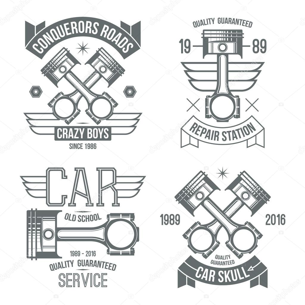 Emblemas de pistn de motor de coche archivo imgenes vectoriales car engine piston emblems grey print on a white background vector de neuevector malvernweather Choice Image