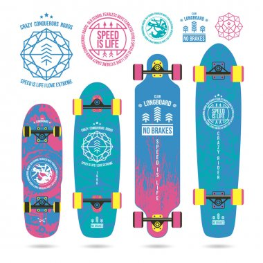 Set of outline emblems on longboard