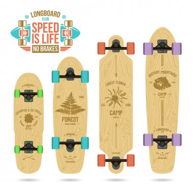 Set of camp emblems on longboard