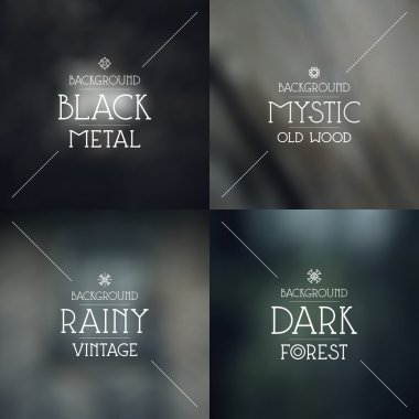 Set of dark blurred backgrounds