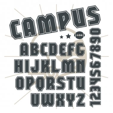 Sans serif font in college style