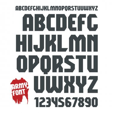 Sans serif geometric military font and numeral