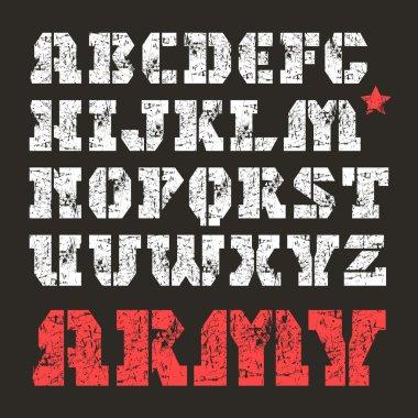 Stencil-plate serif font military