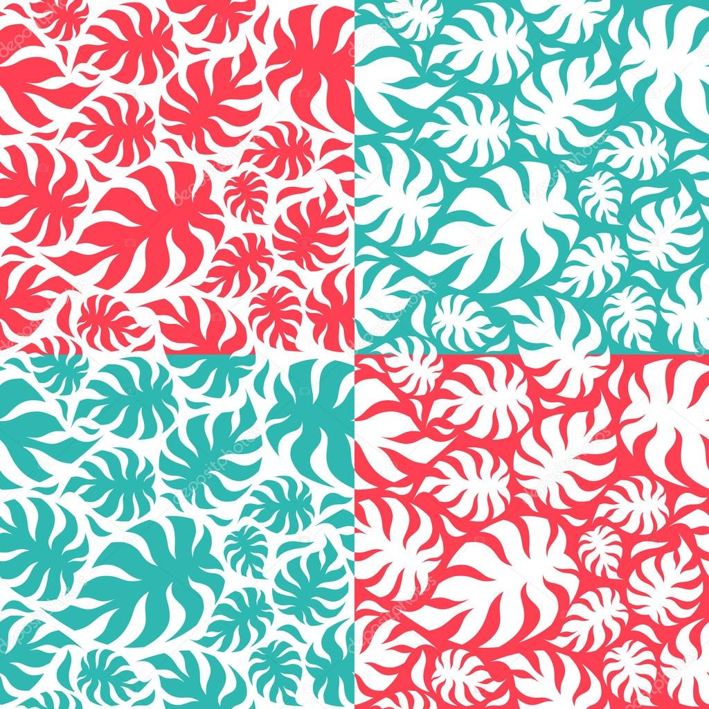 Set of palm leaves seamless pattern