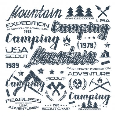 Camping typographic badges  for t-shirt