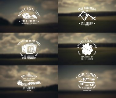 Military emblems and blurred background