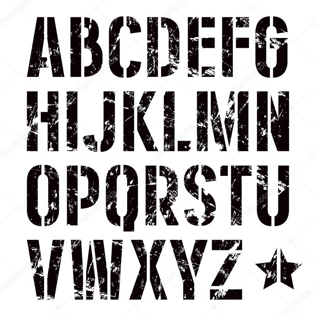 Placa de stencil sans fuente serif de estilo militar — Archivo ...