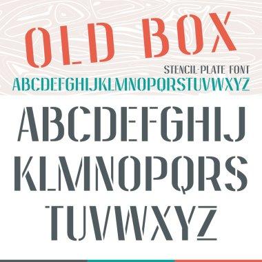 Stencil-plate narrow font
