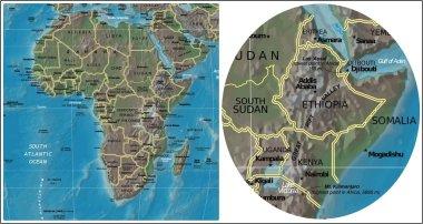 Ethiopia Kenya Uganda Somalia and Africa map