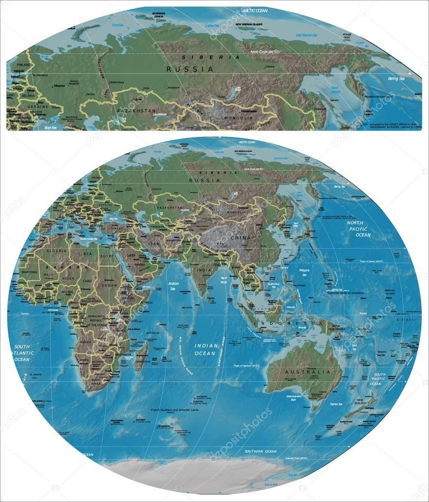 Karte Russland Asien.Russland Und Asien Ozeanien Karte Stockvektor Jrtburr 117450266