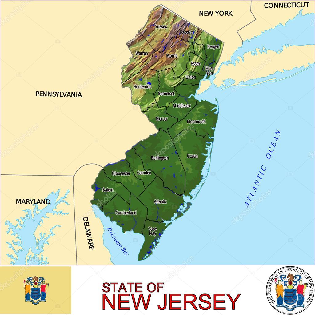 Mapa de emblema de condados de Nueva Jersey — Archivo Imágenes ...