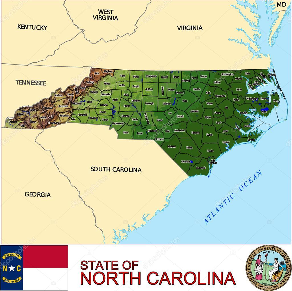 North Carolina counties emblem map — Stock Vector © JRTBurr #58887055