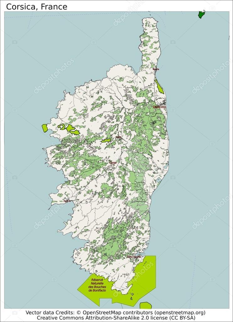 Corsica Italy Island Map Stock Vector C Jrtburr 66540389