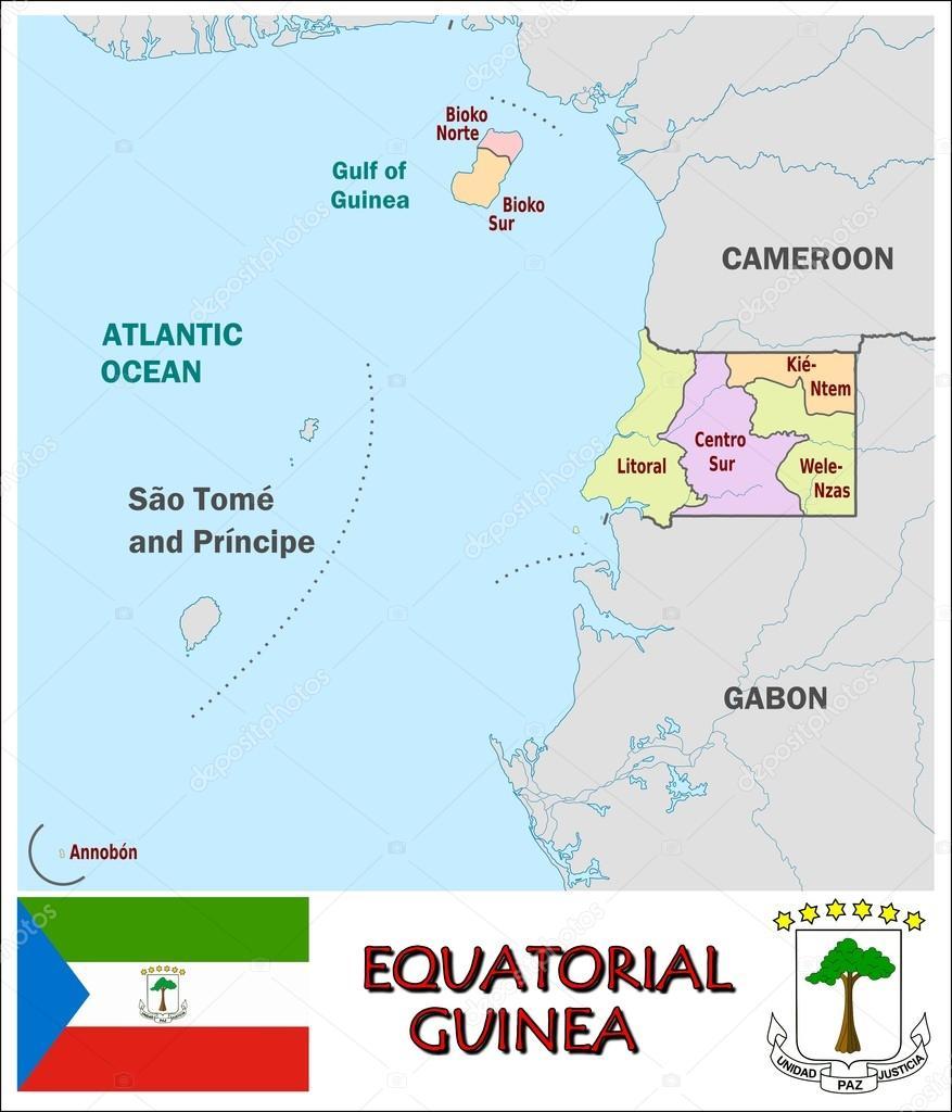 Equatorial Guinea Administrative divisions Stock Vector JRTBurr