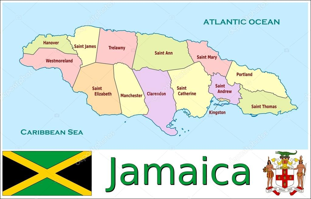 Jamaica Administrative divisions — Stock Vector © JRTBurr #69763943