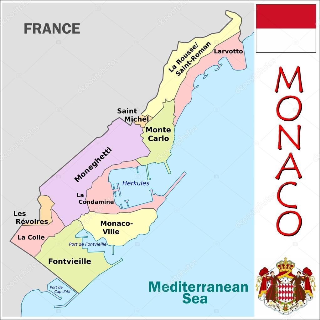 Monaco Administrative divisions Stock Vector JRTBurr 69764203
