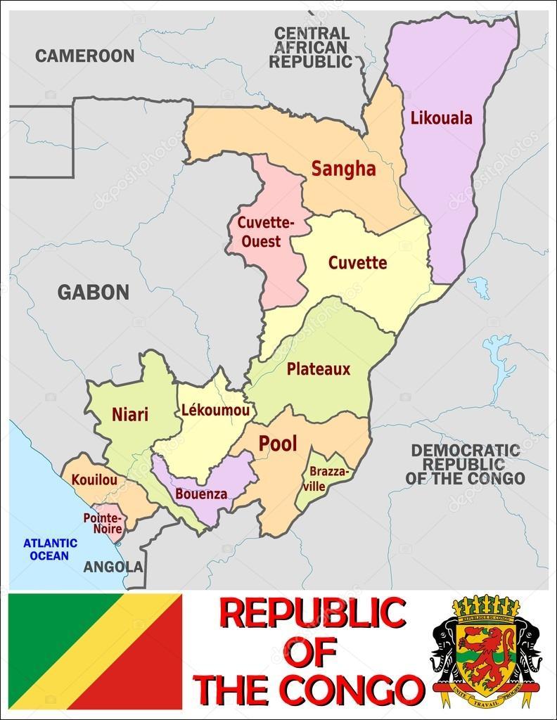 Republic Congo Administrative divisions Stock Vector JRTBurr
