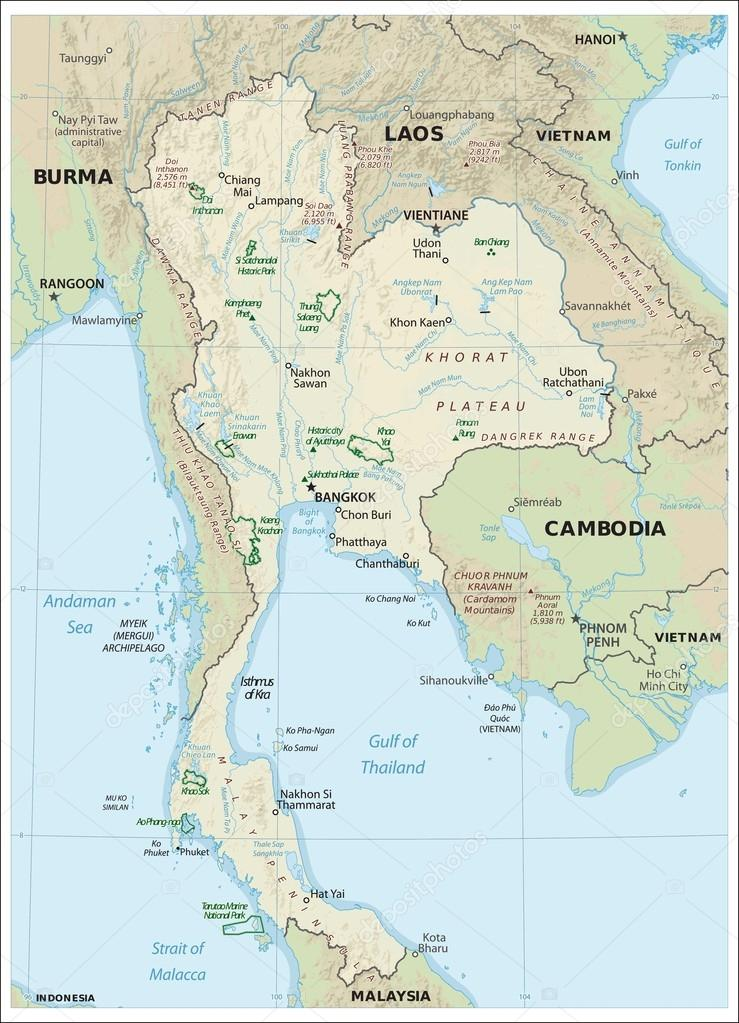 detailed maps of thailand - HD1956×2643