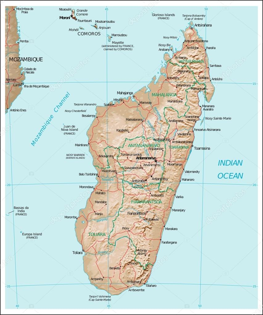 Madagasca physiography map