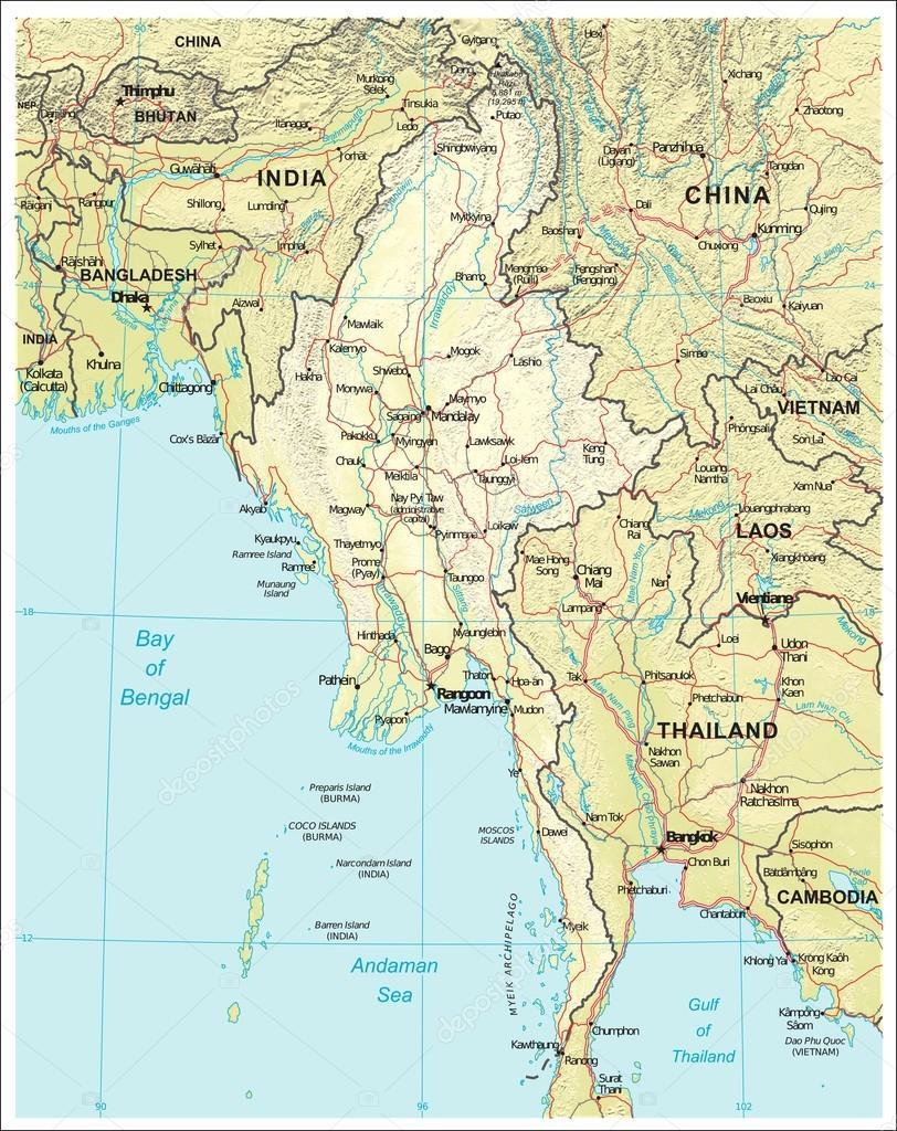 Carte Birmanie A Telecharger.Carte De Geographie Physique De Birmanie Myanmar Image