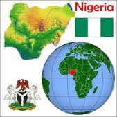 Fotografie Nigeria in globe map