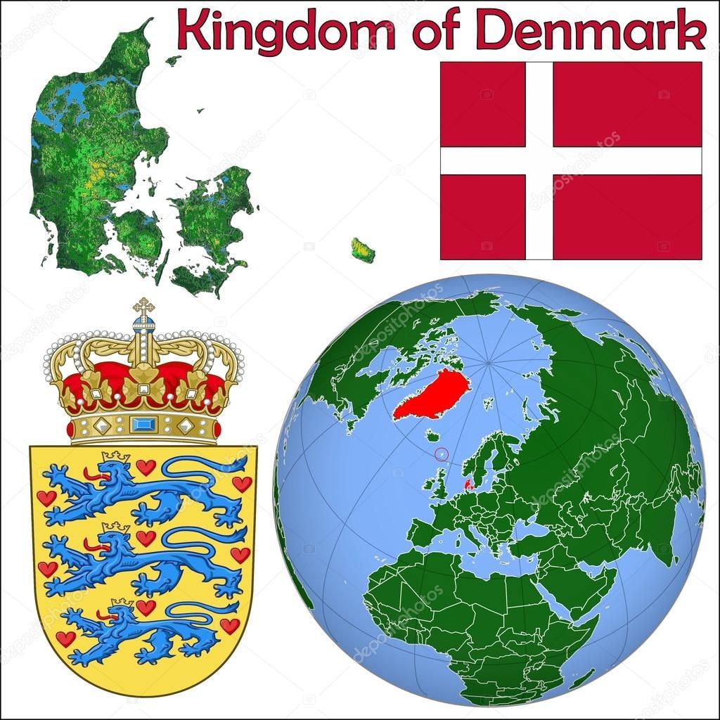Karta Sodra Danmark.Danmark Kungariket Karta Stock Vektor C Jrtburr 85970082