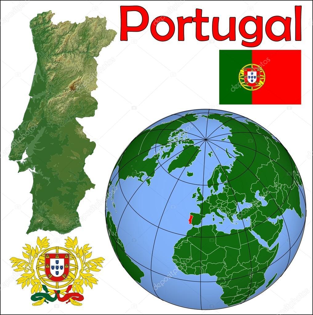Portugal In Globe Map Stock Vector JRTBurr - Portugal globe map