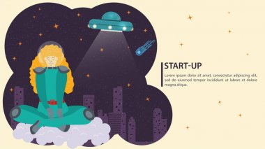 Girl in a space suit in outer space in zero gravity, sitting on a cloud, on the background of a UFO, flat vector drawing, for design design