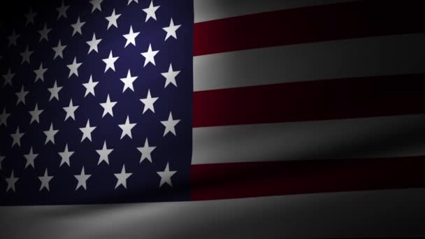 Animation of a 3D rendering Waving United States of America flag with a spotlight