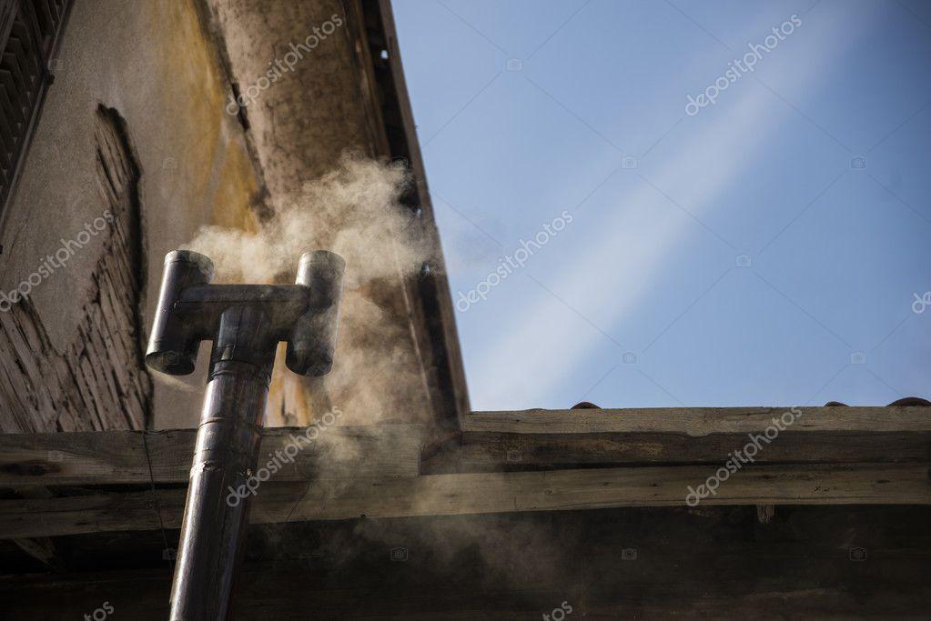 Smoke on flue.