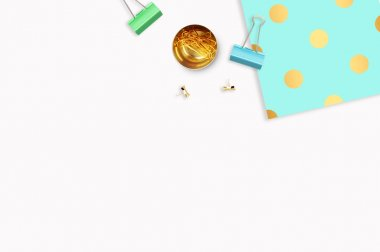 Background mock up. Hero and header for site. Flat lay. Stationery golden. Feminine scene. Woman modern desk top. Elegant background. Mint with gold polka dots pattern Flat lay.