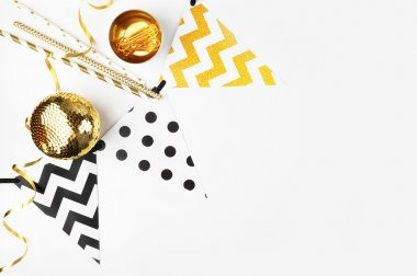 Mockup party background. Gold decoration. Festival flags, polka and chevron patterns