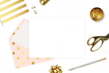Stationery and envelope isolated on white background. Modern background. Mock-up for your photo or text and work. Woman desktop, template card. Flat lay. Open envelope with blank