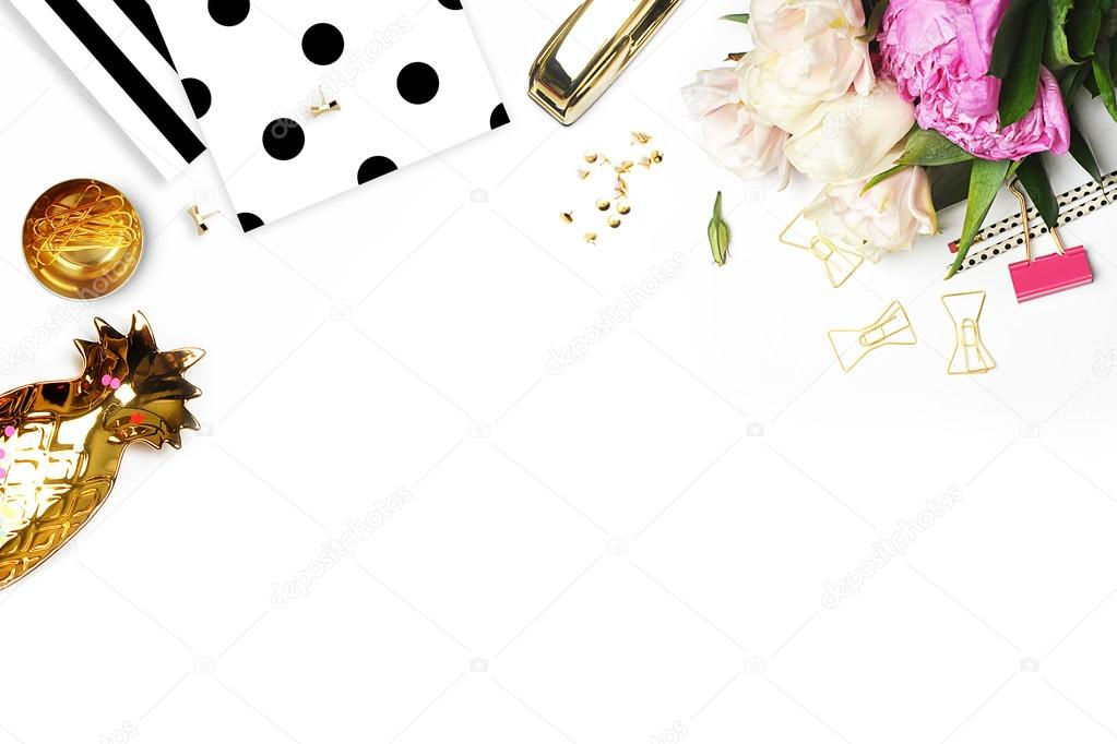 Flat lay. Flower on the table. Keyboard and stapler. Table view. Business accessories. Mock-up background.Peonies