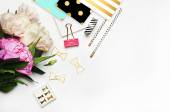 Fotografie White background mockup, image blog, peonies and stationery items gold