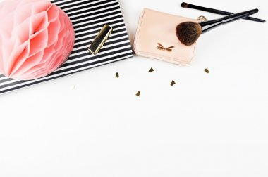 Feminine scene, glamour style. White background mock up. Flat lay, woman desk. Table view, workspace.