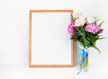 Peonies in vase, frame mockup, white backgroun, wall art